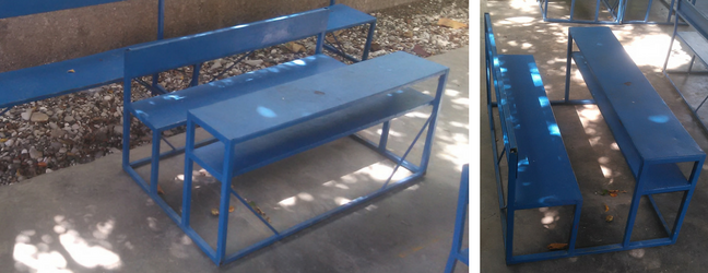 These Durable, Metal Frame School Desk And Attached Bench Are $150 Each.  Each Desk Seats 3 Elementary Age Students Or 2 Middle School Students.